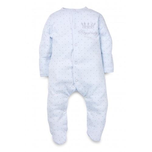 "Человечек: Pima Cotton ""Royal Baby"" Blue Sleepsuit"
