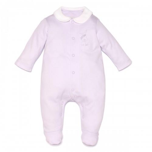 "Pima Cotton ""Mon Bebe"" Violet Sleepsuit"