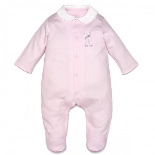 "Pima Cotton ""Mon Bebe"" Pink Sleepsuit"